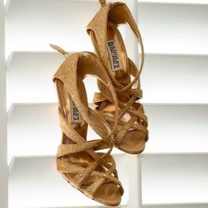 Badgley Mischka Strappy Glitter Sandals